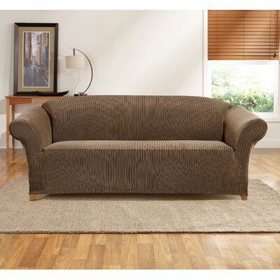 Ribbon Stripe Sofa Skirted Slipcover Color: Taupe