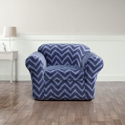 Stretch Chevron Box Cushion Armchair Slipcover Upholstery: Indigo