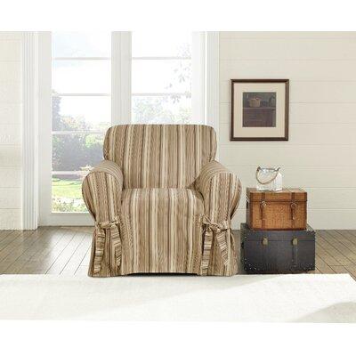Harbor Stripe Chair Slipcover Upholstery: Dark Multicolored
