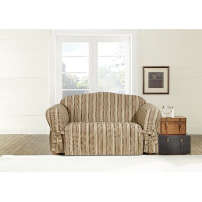 Harbor Stripe Box Cushion Loveseat Slipcover Upholstery: Dark Multicolored