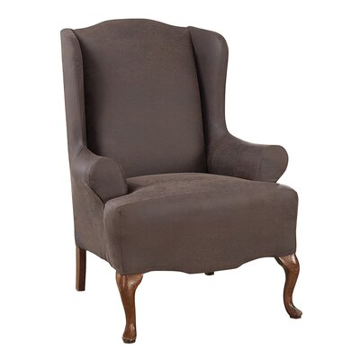 Ultimate Stretch Faux Leather Wing Arm Chair Slipcover Upholstery: Weathered Saddle