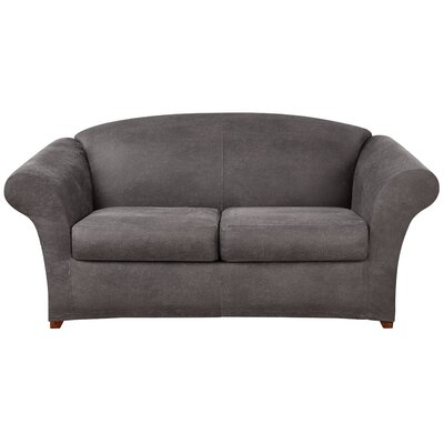 Ultimate Stretch Faux Leather Sofa Slipcover Upholstery: Antiqued Slate
