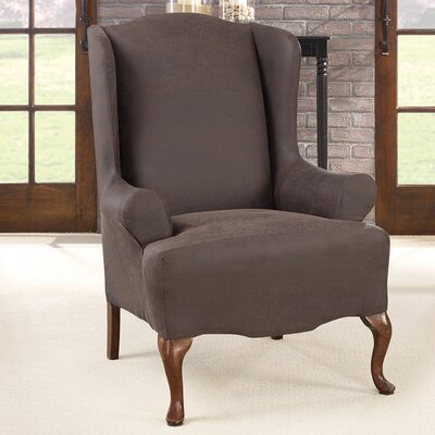 Ultimate Stretch T-Cushion Wingback Slipcover Upholstery: Weathered Saddle