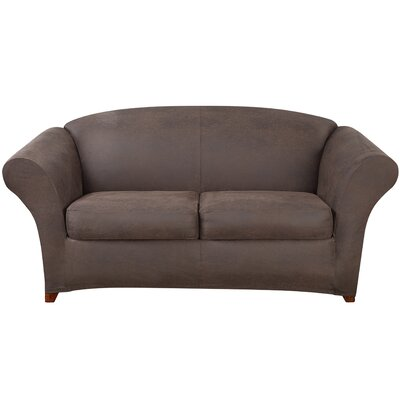 Ultimate Stretch Faux Leather Sofa Slipcover Upholstery: Weathered Saddle