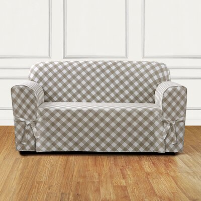 Buffalo Check Box Cushion Loveseat Slipcover Color: Tan