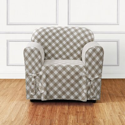 Buffalo Check Box Cushion Armchair Slipcover Color: Tan