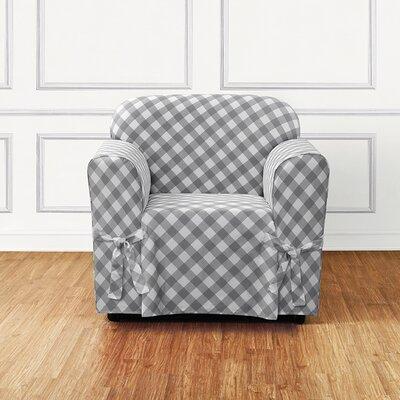 Buffalo Check Armchair Skirted Slipcover Color: Gray