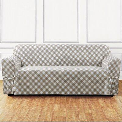 Buffalo Check Box Cushion Sofa Slipcover Color: Tan
