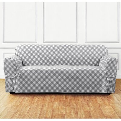 Buffalo Check Sofa Skirted Slipcover Color: Gray