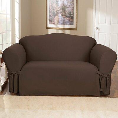Loveseat Slipcover Upholstery: Chocolate