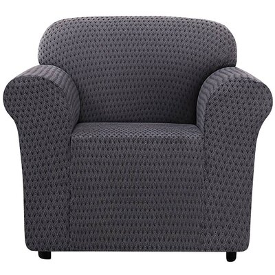 Stretch Sonya Arm Chair Slipcover Color: Black/Gray