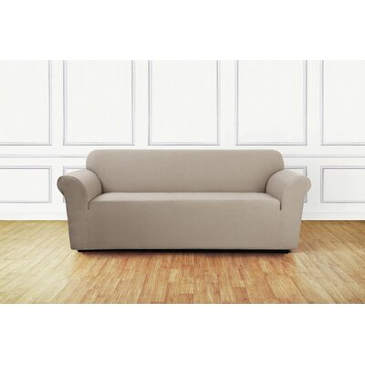 Stretch Delicate Leaf Box Cushion Sofa Slipcover Upholstery: Tan