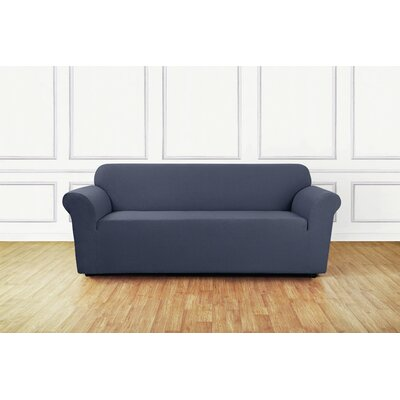 Stretch Delicate Leaf Box Cushion Sofa Slipcover Upholstery: Storm Blue