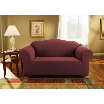 Simple Stretch Subway Loveseat Slipcover Upholstery: Burgundy
