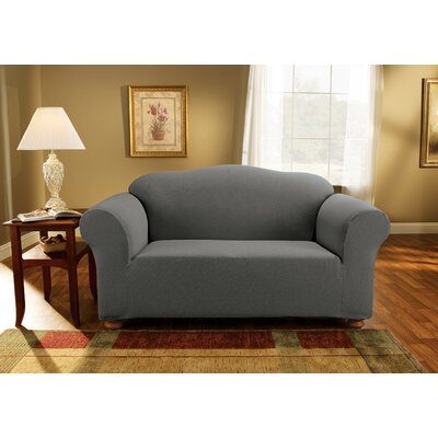 Simple Stretch Subway Box Cushion Loveseat Slipcover Upholstery: Carbon Gray