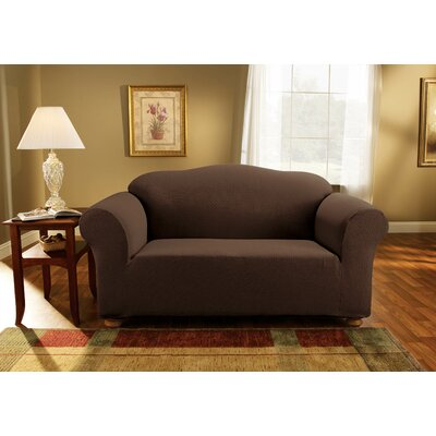 Simple Stretch Subway Loveseat Slipcover Upholstery: Chocolate