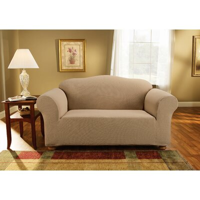 Simple Stretch Subway Box Cushion Loveseat Slipcover Upholstery: Taupe