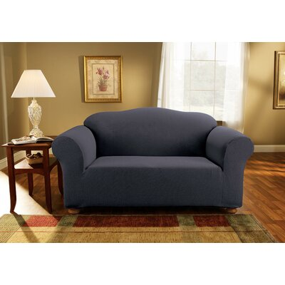 Simple Stretch Subway Box Cushion Loveseat Slipcover Upholstery: Storm Blue