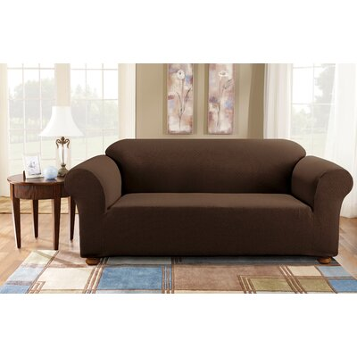 Simple Stretch Subway Sofa Box Cushion Slipcover Upholstery: Chocolate