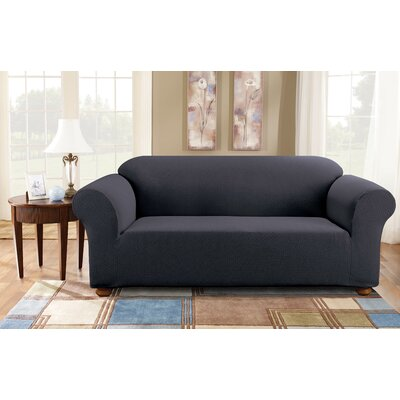 Simple Stretch Subway Box Cushion Sofa Slipcover Upholstery: Storm Blue