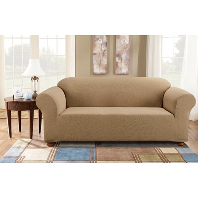 Simple Stretch Subway Box Cushion Sofa Slipcover Upholstery: Taupe