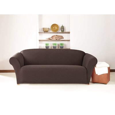 Box Cushion Sofa Slipcover Upholstery: Chocolate