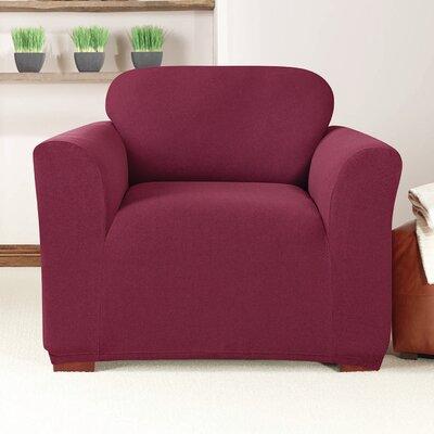 Box Cushion Armchair Slipcover Upholstery: Burgundy