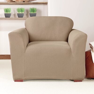 Box Cushion Armchair Slipcover Upholstery: Taupe