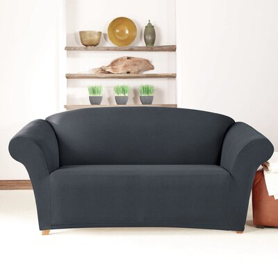 Box Cushion Loveseat Slipcover Upholstery: Storm Blue