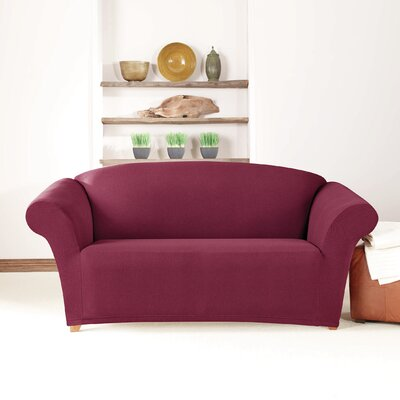Box Cushion Loveseat Slipcover Upholstery: Burgundy