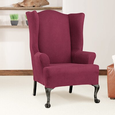 T-Cushion Wingback Slipcover Upholstery: Burgundy