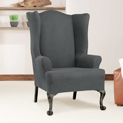 Arm Chair T-Cushion Slipcover Upholstery: Carbon Gray