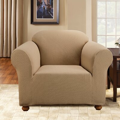 Simple Stretch Subway Box Cushion Armchair Slipcover Upholstery: Taupe