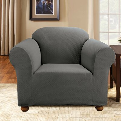 Simple Stretch Subway Armchair Slipcover Upholstery: Carbon Gray