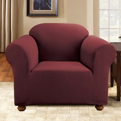 Simple Stretch Subway Box Cushion Armchair Slipcover Upholstery: Burgundy