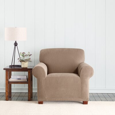 Stretch Pixel Box Cushion Armchair Slipcover Upholstery: Taupe