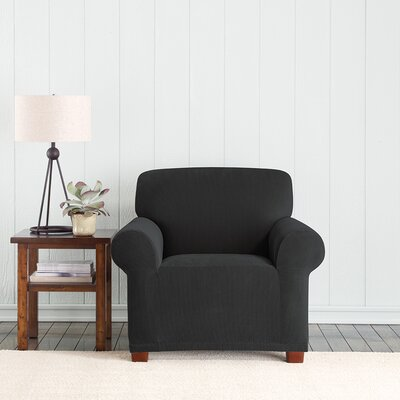 Stretch Pixel Armchair Slipcover Upholstery: Black