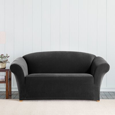 Stretch Pixel Box Cushion Loveseat Slipcover Upholstery: Black