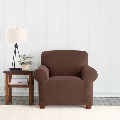 Stretch Pixel Armchair Slipcover Upholstery: Chocolate