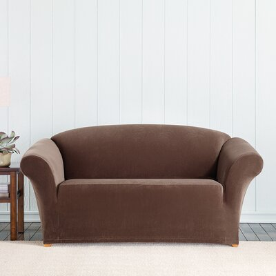 Stretch Pixel Loveseat Slipcover Upholstery: Chocolate