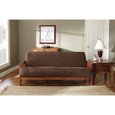 Soft Suede Futon Slipcover Upholstery: Chocolate