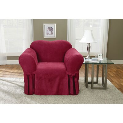 Soft Suede Chair Slipcover Upholstery: Burgundy