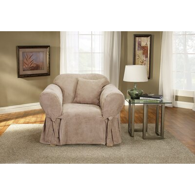 Soft Suede Box Cushion Armchair Slipcover Upholstery: Taupe