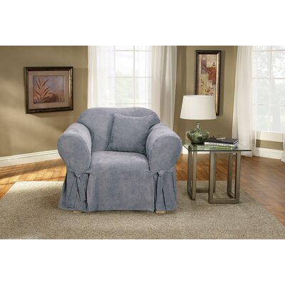Soft Suede Box Cushion Armchair Slipcover Upholstery: Smoke Blue