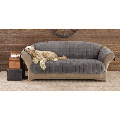 Deluxe Comfort Box Cushion Sofa Slipcover Upholstery: Dark Grey