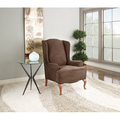 Stretch Suede Wing Chair Slipcover Upholstery: Chocolate