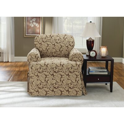 Scroll Classic Fit Chair Slipcover Upholstery: Brown