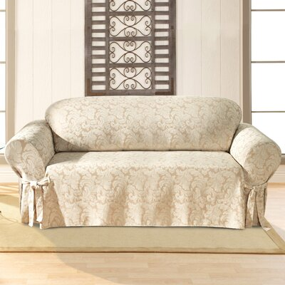 Scroll Classic Sofa Skirted Slipcover Upholstery: Champagne