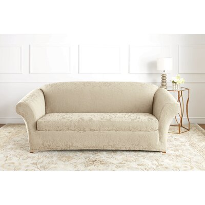 Stretch Jacquard Damask Box Cushion Sofa Slipcover Upholstery: Ivory