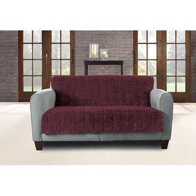 Faux Fur Quilted Loveseat Slipcover Upholstery: Sangria